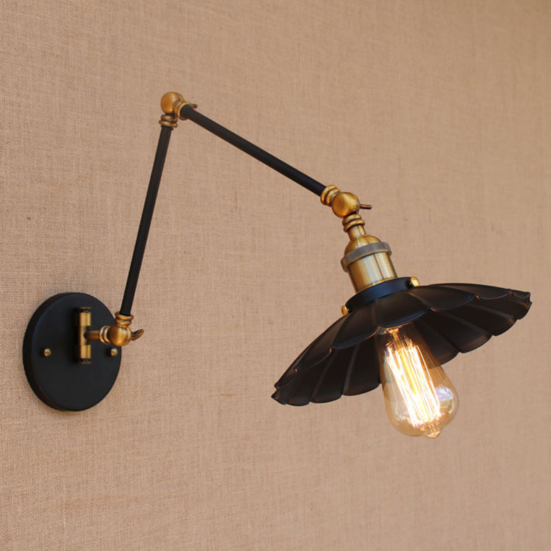 Vintage black industrial iron wall lamp E27/ E26 light sconce with adjustable long swing arm for workroom bedside bedroom barVintage black industrial iron wall lamp E27/ E26 light sconce with adjustable long swing arm for workroom bedside bedroom bar