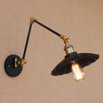 Vintage black industrial iron wall lamp E27/ E26 light sconce with adjustable long swing arm for workroom bedside bedroom bar