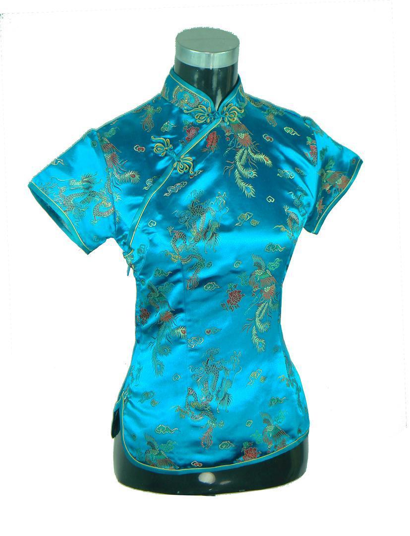 Con estilo azul chinos Ladies ' camisa de rayón Tops de cuello mao blusa estilo