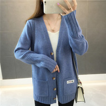 PEONFLY Casual Women Cardigans Sweater V Neck Solid Loose Knitwear Single Breasted Casual Knit Outwear Winter Jacket Coat
