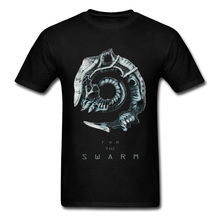For the Swarm T-shirt Men Tshirt Alien 3D Movie T Shirt Design Horror Facehugger Print Tops & Tees 2019 Black Fiction UFO