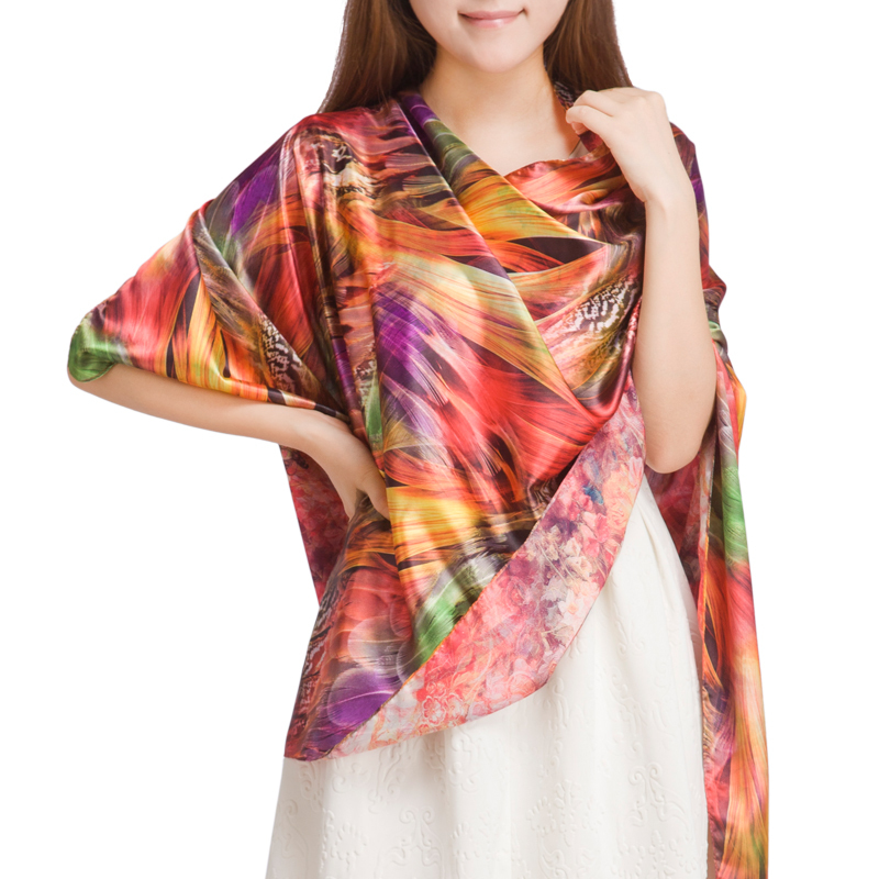 Colorful Feather Long   Scarf   New Double Faced Digital Inkjet Romantic Flower   Scarves     Wraps   Women Silk   Scarf   For Autumn And Winter