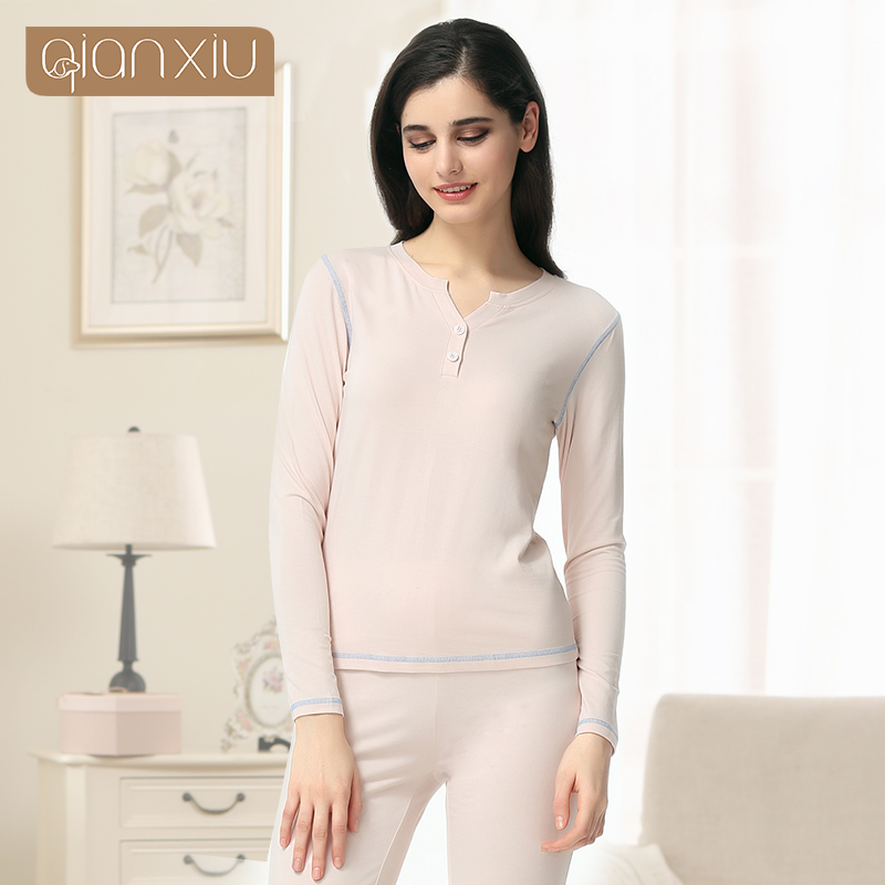 Qianxiu Couple Pajama sets Knitted Cotton Pajamas Onesies V-neck Full length Underwear Suit 1605