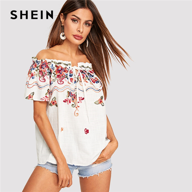 0dc2032430 SHEIN Bohemian White Off Shoulder Frill Trim Flower Embroidered Blouse  Women Summer Short Sleeve Vacation Beach Casual Blouses