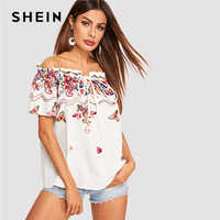 SHEIN Bohemian White Off Shoulder Frill Trim Flower Embroidered Blouse Women Summer Short Sleeve Vacation Beach Casual Blouses