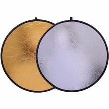 """CY 24 """"/60 cm Fabrika doğrudan satış Tutamak Çok Katlanabilir Taşınabilir Disk ışık reflektörü Fotoğrafçılık için 2in1 Altın ve gümüş"""