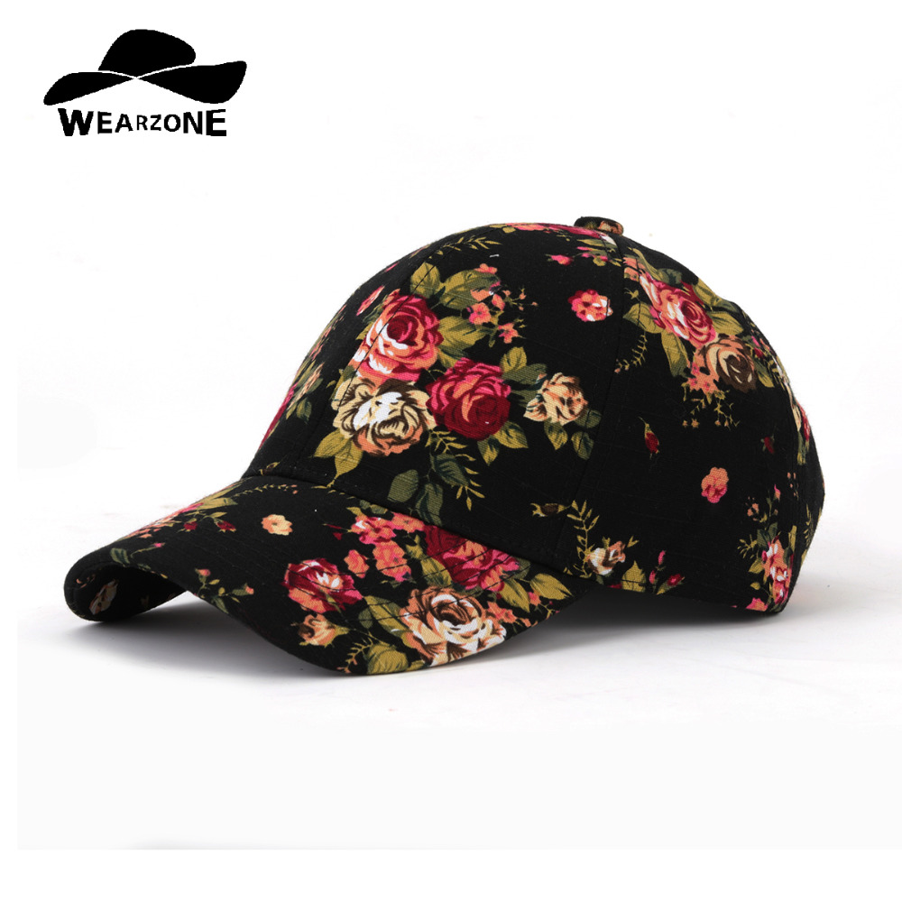 WEARZONE Fashion Floral Print   Baseball     Cap   100% Cotton Canvas Adjustable Dad Hats 2018 Spring Younth Hat for Women