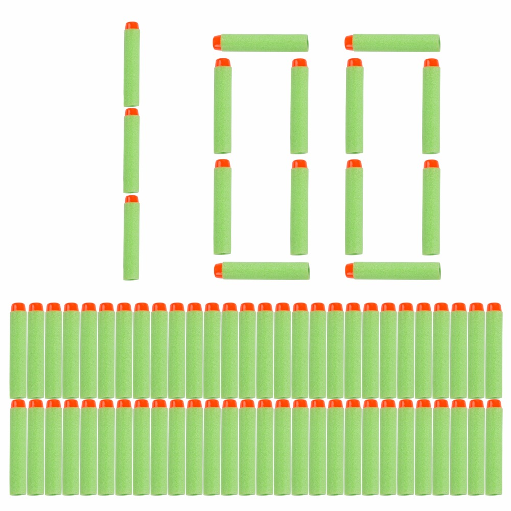 100PCS For Nerf Bullets Soft Hollow Hole Head 7.2cm Refill Darts Toy Gun Green Bullets For Nerf Series Blasters Children Gift