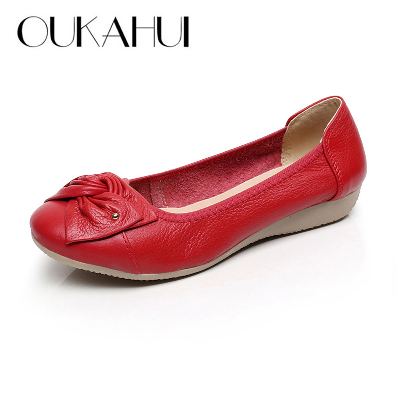 Plus Size Spring\Autumn Fashion Genuine Leather Shoes Woman Flats Work Classi Fashion Bowknot Female Casual Ballet Ladies Shoes