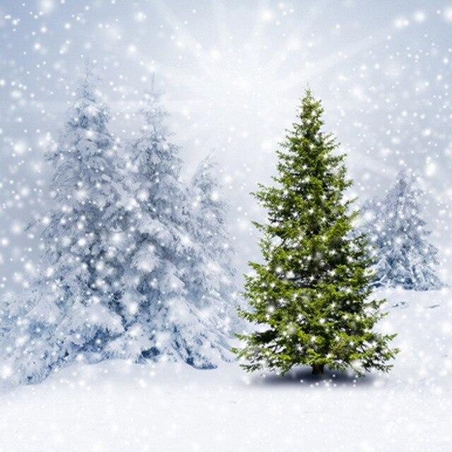 Christmas Vinyl Cloth Winter Snow Tree Scenic Photo Studio