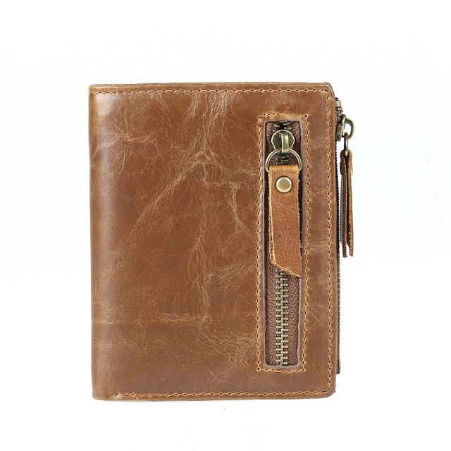 Billeteras de hombre Rfid Cartera de cuero genuino bolso de cuero de vaca antirrobo para titular de tarjeta de crédito de ID Kreid kartllk cuzdan
