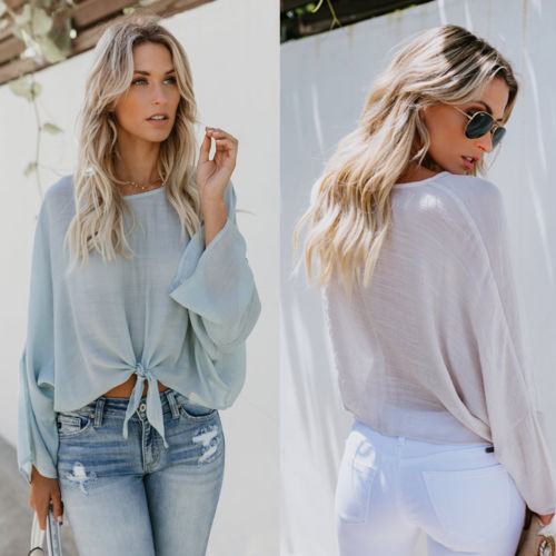 Fashion Women's Ladies Long Sleeve Loose Casual Shirt Summer Tops T-Shirt Solid Loose Perspective Belt  Women Clothing