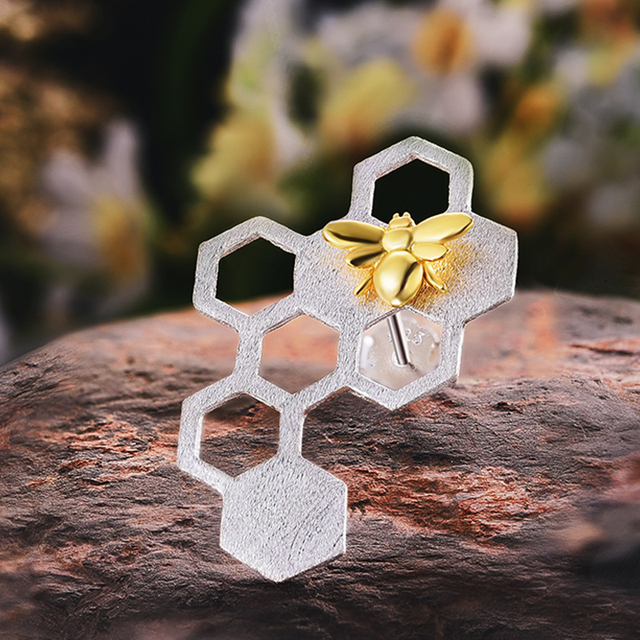Lotus Fun Real 925 Sterling Silver Natural Creative Handmade Fine Jewelry Honeycomb Home Guard Dangle Earrings for Women Brincos