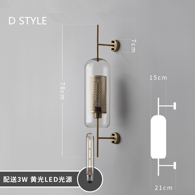 Image 3 - Industrial Style Retro Wall Light Vintage Creative Concise Glass Light Kitchen Restaurant Loft Led Wall Sconce Free Shipping-in LED Indoor Wall Lamps from Lights & Lighting