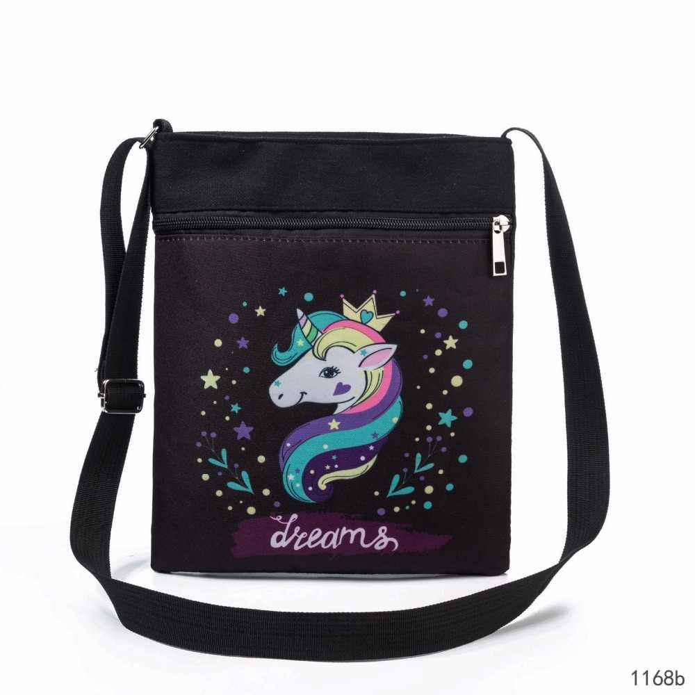 7577d0c5b Double Zipper Canvas Shoulder Flap Bag Female Cartoon Cartoon Printed  Messenger Bag Girls Small Phone Bag