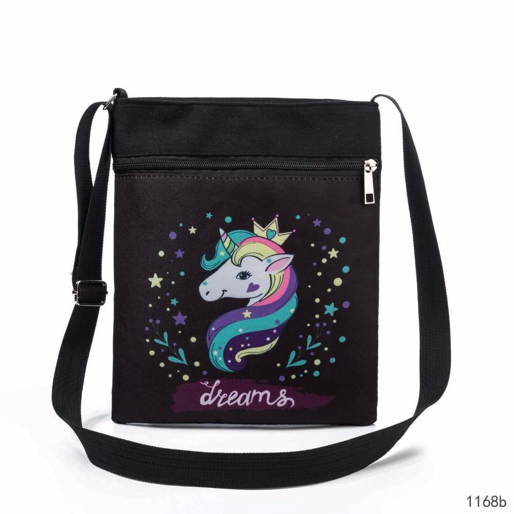 Double Zipper Canvas Shoulder Flap Bag Female Cartoon Unicorn Printed Messenger Bag Girls Small Phone Bag Women BB345 aerlis men women canvas retro 6inch phone portable small waist bag