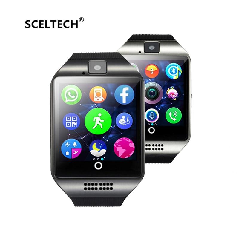 SCELTECH Bluetooth Smart Watch hombres Q18 con pantalla táctil Batería grande TF tarjeta Sim para Android Teléfono Passometer