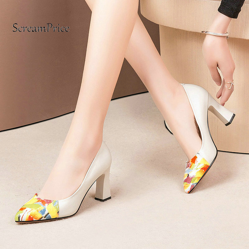 4c055dffb36e ... Price Shoes Italian Shoes with Matching Bag Set(China). US  54.67.  Woman Square High Heel Mixede Color Genuine Leather Pumps Fashion Pointed  Toe Dress ...