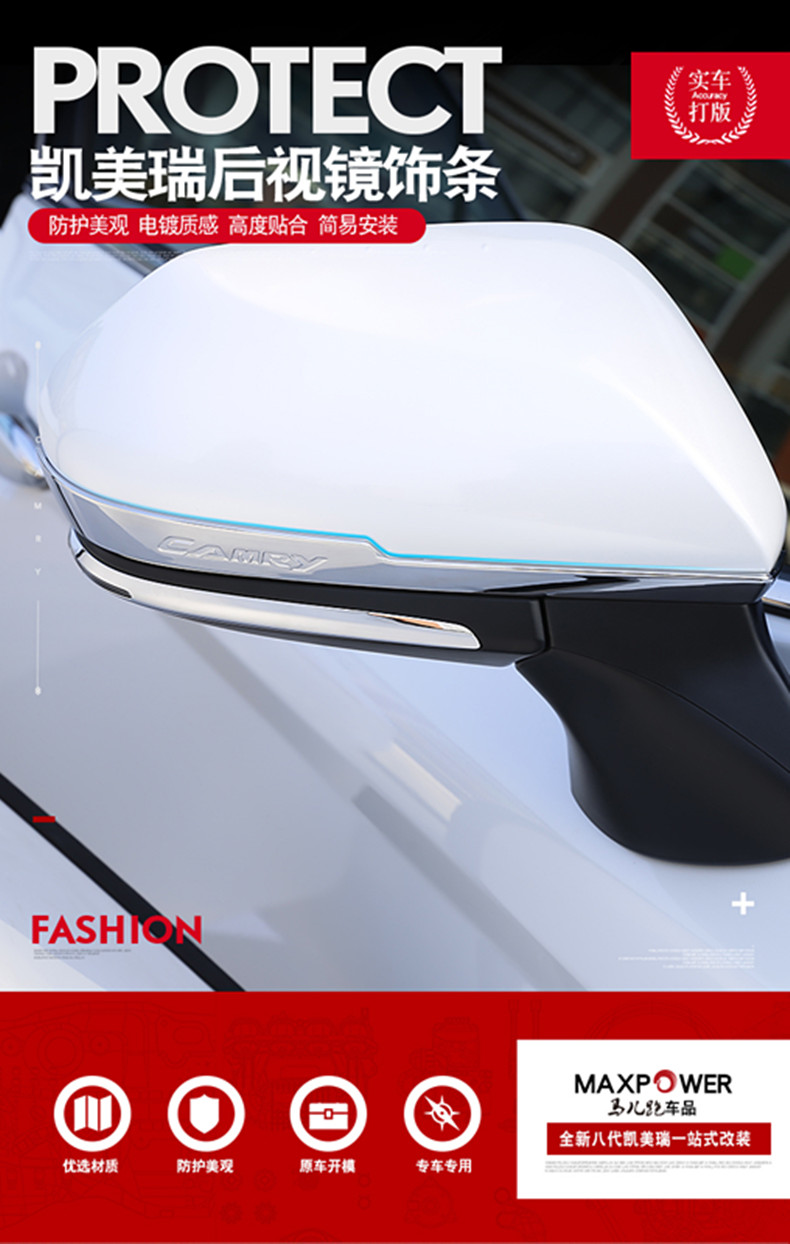 2pcs New Chrome Door Rearview Mirror Trim for TOYOTA Camry 2018