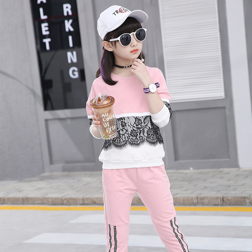 8 9 10 12 Casual Summer Clothes for Kids Girl Spring Children Girls Clothing Sets Sports Suit T-shirt+Pants 2pcs Outfit Children