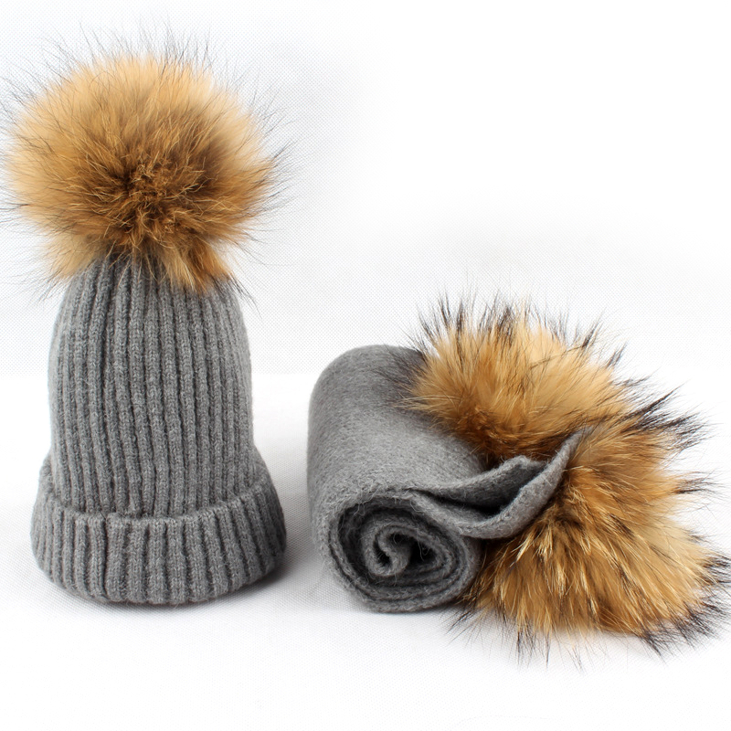 2017 Raccoon Fur Pompom Wool Hat Warm Hat Scarf Kids Hat Winter Children Scarf Boys Girls Bonnet Beanie Scarf & Hat Sets gift children knitting wool hat cute keep warm rabbit beanie cap autumn and winter hat with earflaps whcn