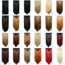 New arrival Seven piece 55cm 22 inch Long 32 colors hair extension women cosplay hairpiece clip in on free shipping
