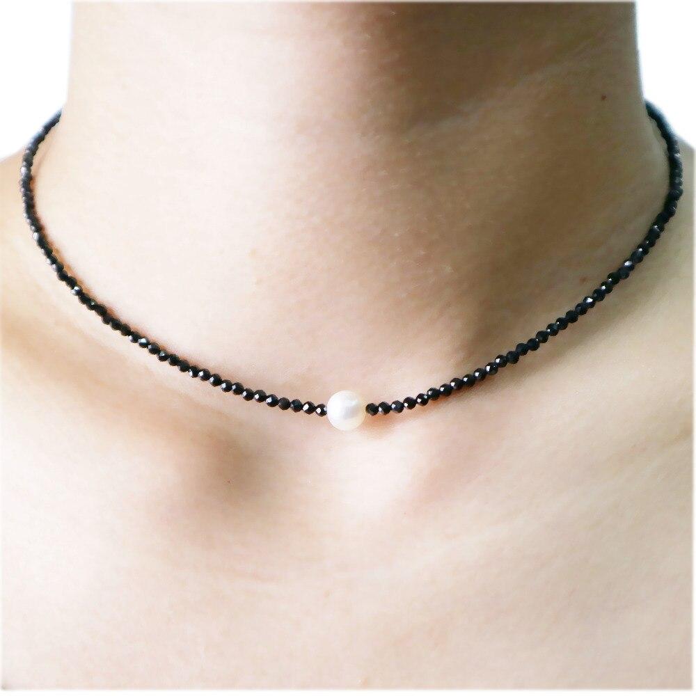 Halsband Halskette Natürlichen Schwarz Spinelle 1-2mm Faceted Perlen ...