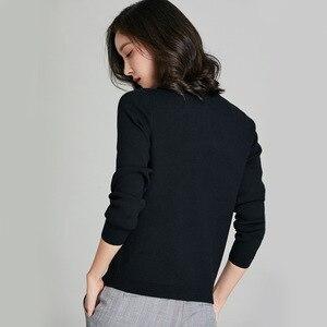 Image 4 - Cardigans chics pour femmes, veste Slim sauvage pour femmes, boutons de décoration, tricot, coton, cachemire, couleur unie, 2018, nouveauté