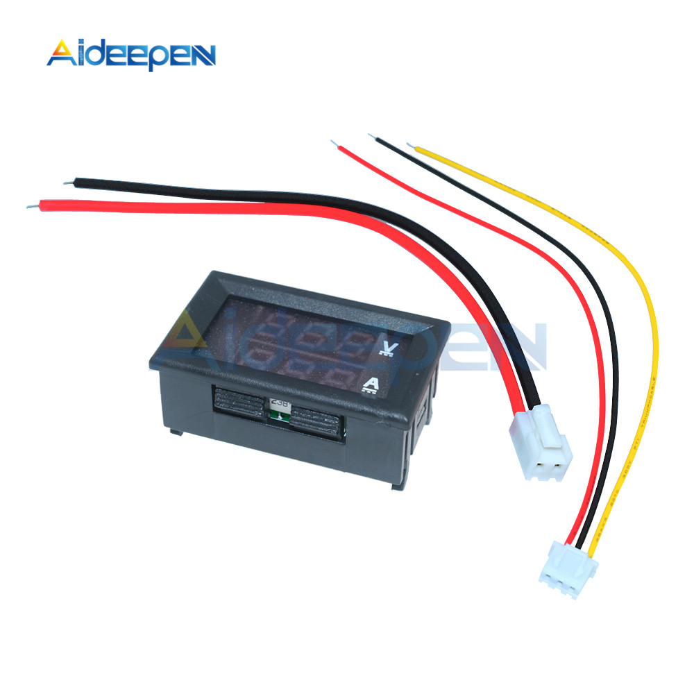 """Mini Digital Voltmeter Ammeter DC 100V 10A Voltmeter Current Meter Tester 0.28"""" 0.28 inch Blue+Red LED Amp Dual LED Display 3"""