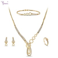 Hot Saling Accessories Wedding Choker Cubic Zircon Costume Dubai Silver/Gold Color Necklace&Earrings&Ring For Women Jewelry Sets