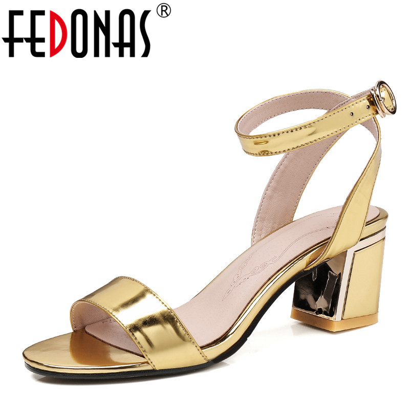 FEDONAS 2018 Ankle Strap Heels Women Sandals Summer Genuine Leather Shoes Woman Open Toe Chunky High Heels Party Dress Sandals covibesco nude high heels sandals women ankle strap summer dress shoes woman open toe sandals sexy prom wedding shoes large size