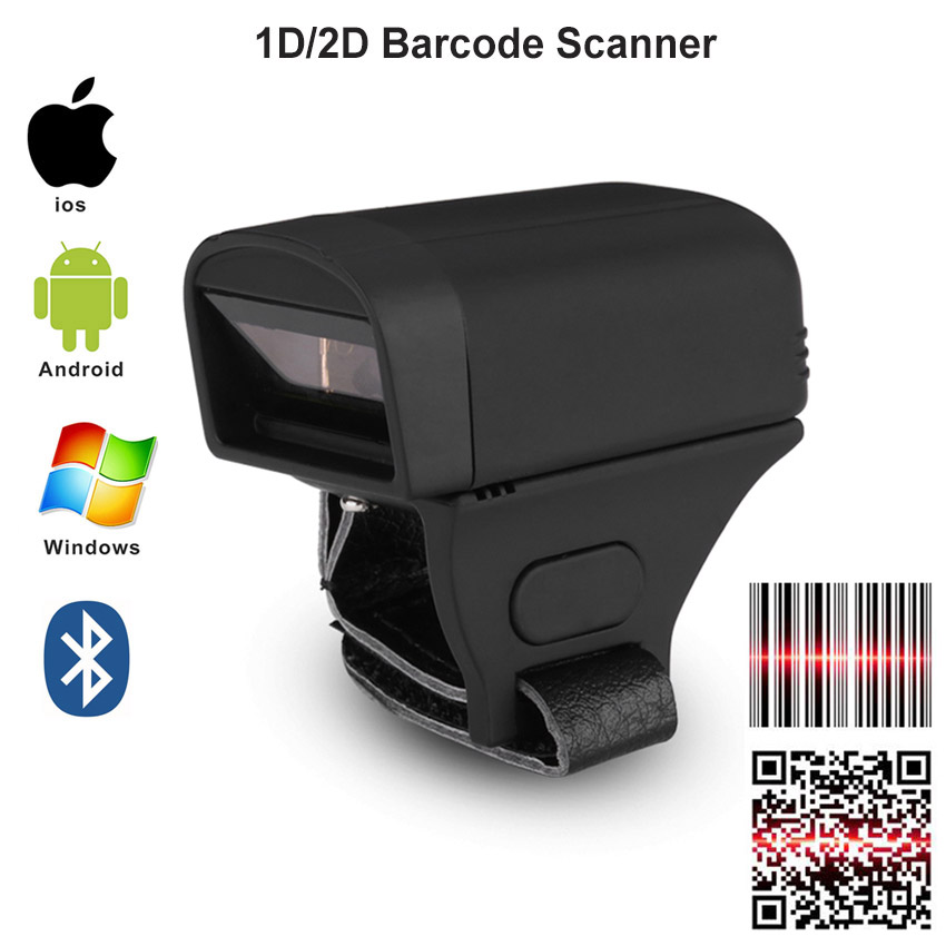 Code Scanner Pocket Bluetooth-Finger Android-Windows 2D Wireless Wearable 1d Ccd PDF417
