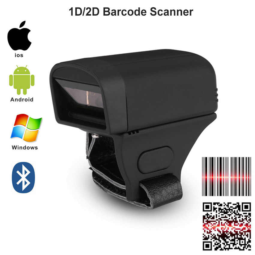 Anneau portable Bluetooth sans fil de poche 2D Scanner de codes à barres QR 1D CCD PDF417 Scanner de codes à barres 2D pour Windows Android IOS