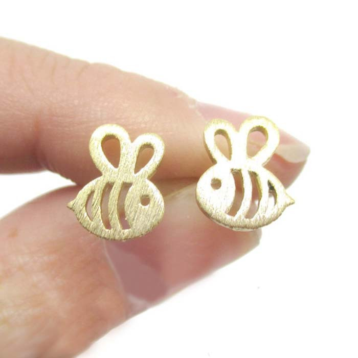 Chandler Cute Bee Earring For Women Bumble Bee Insect Shaped Animal Boucle d'oreille Brushed Kids Friendship Gifts Jewelry