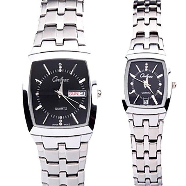 Onlyou Luxury Brand Quartz Watch Men Women Lovers Rectangle Shape Black Gold Business Wristwatches Stainless Steel Alloy 8739