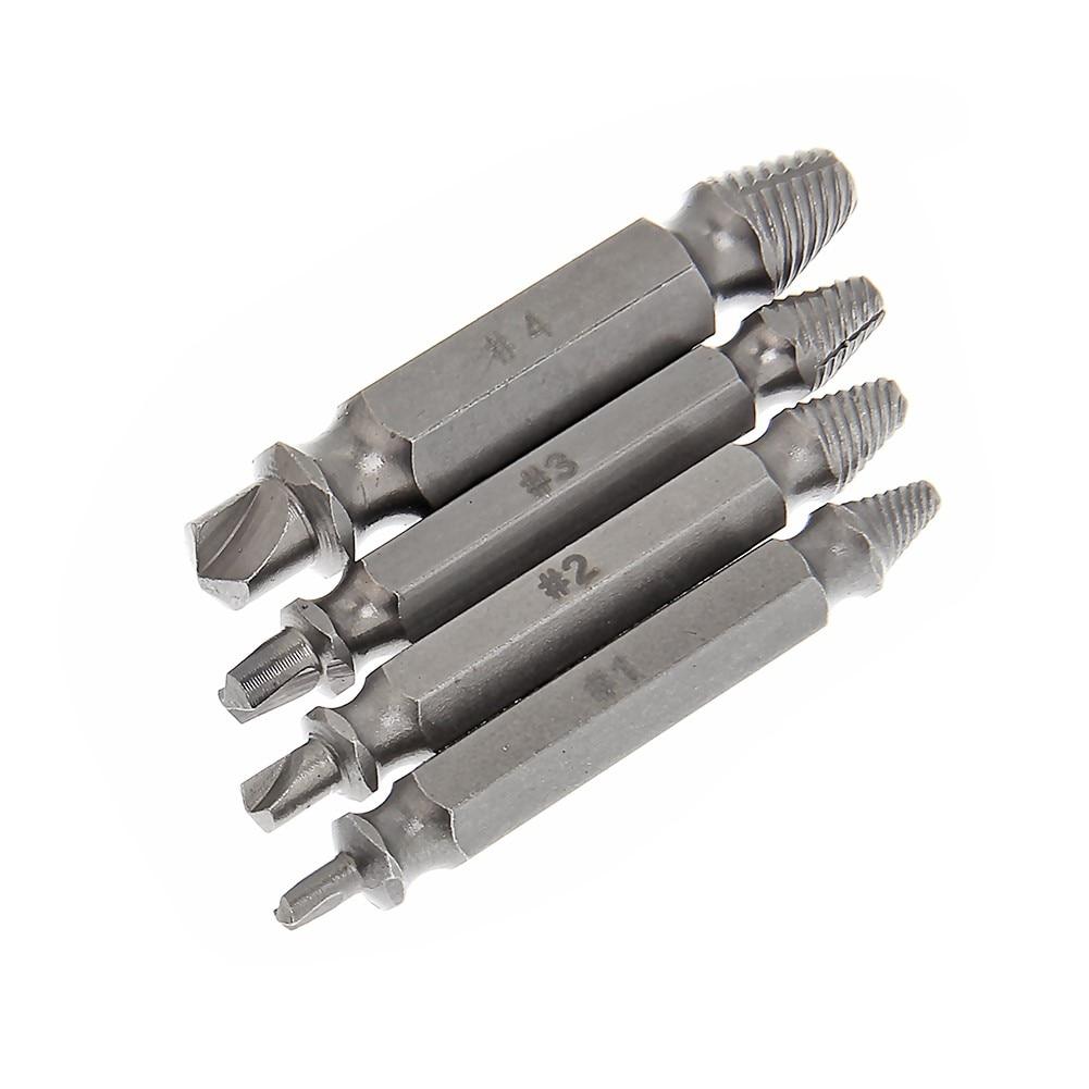 4 db / készlet sérült csavaros elszívó törés csavarkihúzó fúrófejek vezetési készlet törött Easy Out rögzítőkészlet