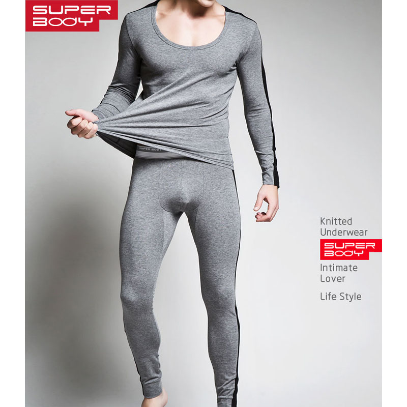 Winter Men Warm Thermal Underwear Sets Mens Sexy Gay Long Johns Cotton Comfortable V Neck Male