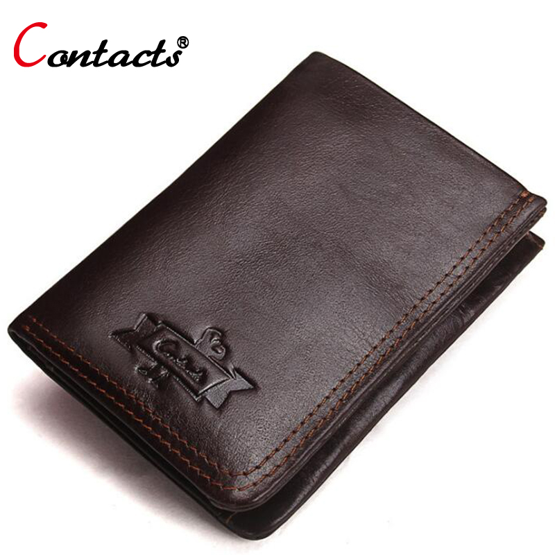 CONTACTS Genuine Leather Men Wallet Male Purse Male Clutch Credit Card Holder Coin Purse Money Bag Small Slim Wallet Minimalist