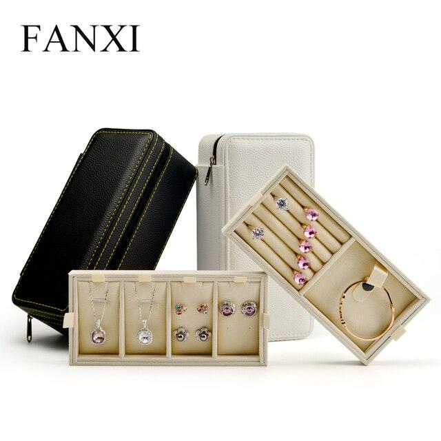 Fanxi nueva PU exhibición de la joyería caja de almacenamiento con cremallera viaje joyero portátil dos capas de joyería organizador
