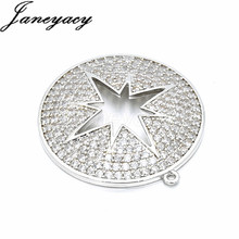 Fashion Brass Zircon Pendant Accessories Connector Round DIY Women Necklace Earrings CZ Jewelry Accesorios