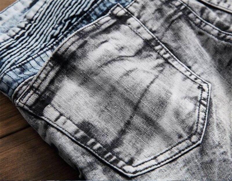 Nuevos hombres Biker Jeans Pantalón Multil Pocket Slim Fit plisado - Ropa de hombre - foto 4