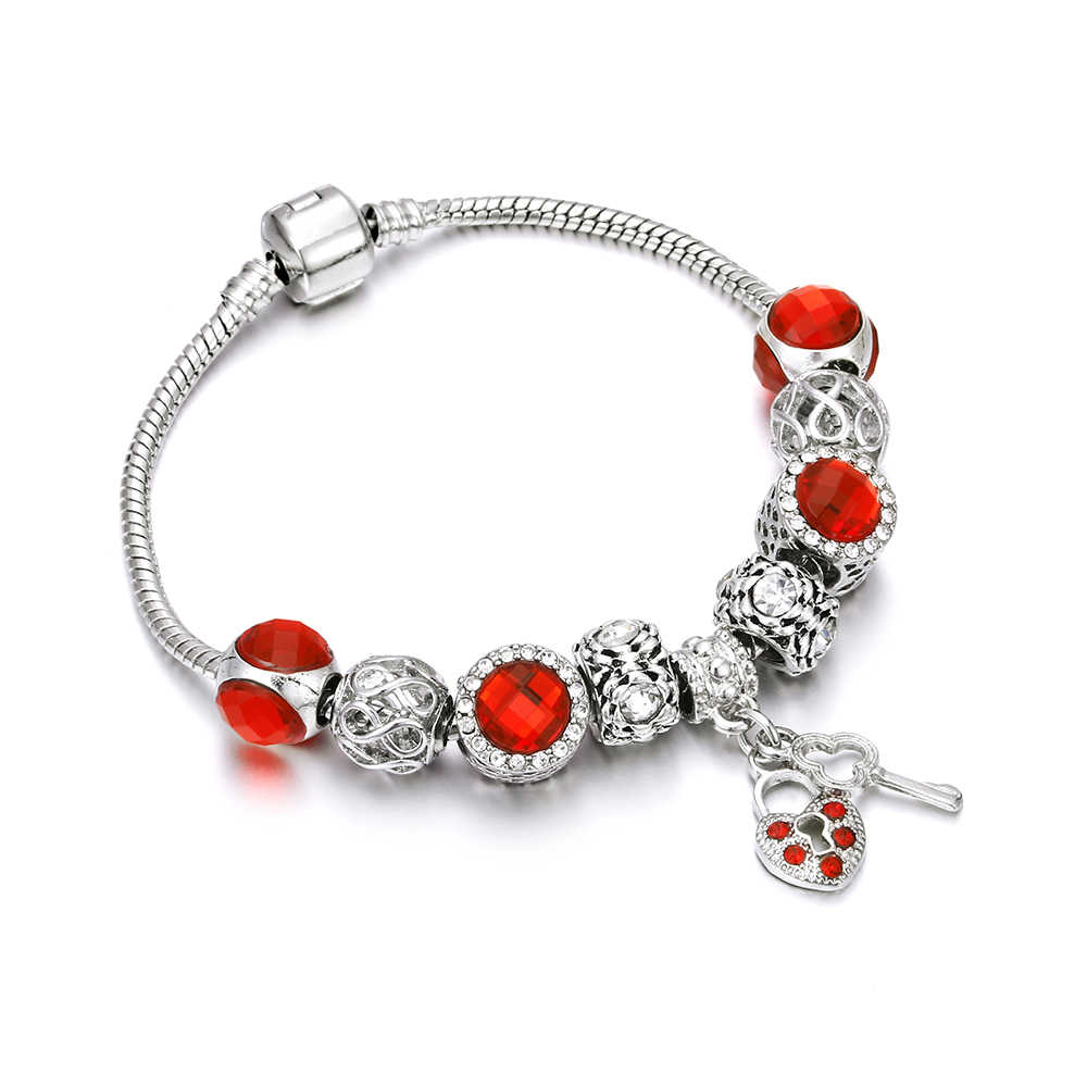 Charm Women Silver Snake Chain Bracelet Original Red Crystal Leaves Dragonfly Key Pendant Bracelets&Bangles Jewelry For Girl DIY