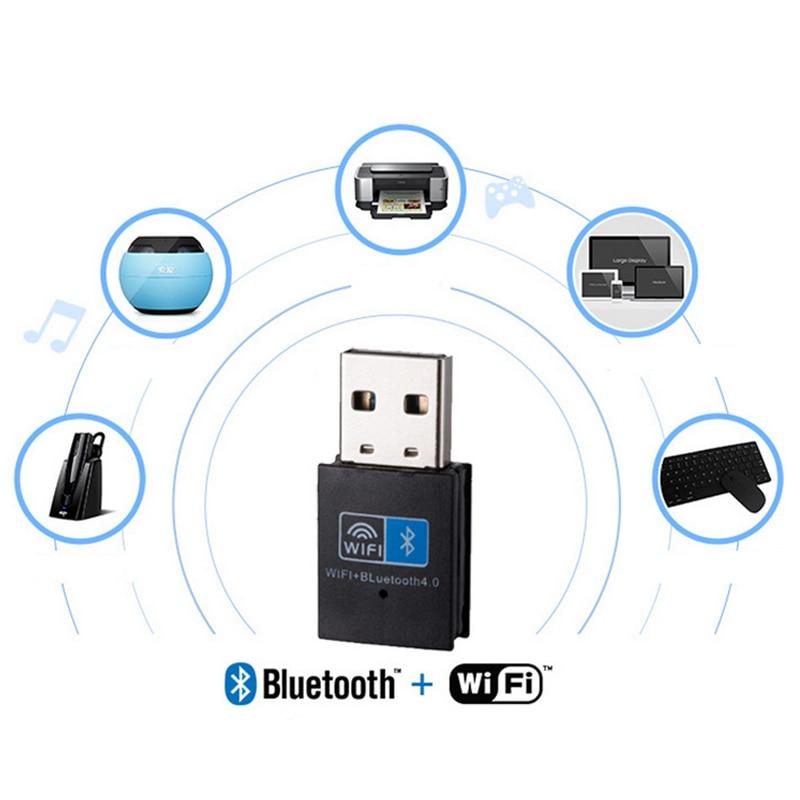 Mini adaptador USB inalámbrico 150 Mbps WiFi Bluetooth 4,0 2 en 1 receptor para PC ordenador QJY99