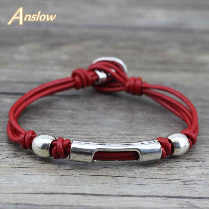 Anslow Cute Sweet Vintage Genuine Wrap Leather Bracelets Men Women Jewelry Accessories Wholesale DIY Handmade Diy LOW0398LB