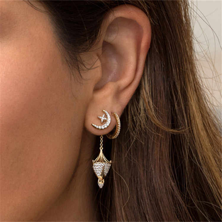 SLJELY Women Gold Color Star Moon Ceiling Lamp Drop Earrings Inlayed Full Zircon CZ 2018 New Collection Egyptian Monaco Jewelry