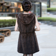 Free Shipping women's plus size genuine knitted mink fur vest and jackets long style with hoody belt fashion jacket coat outwear