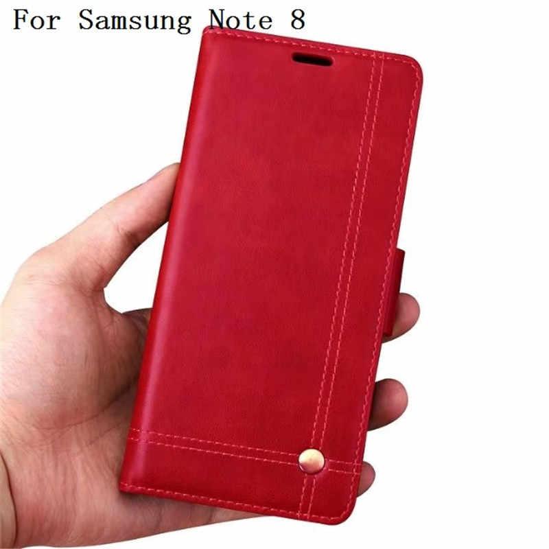 Flip En Cuir PU Téléphone étuis pour samsung Galaxy Note 8 Étui Pochette Style Carte Fente Support De support pour Note8 N9500