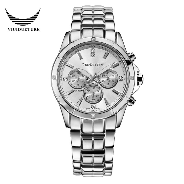 ViuiDueTure Luxury Brand Watch Men Full Steel Strip Relogio Masculino Women Quartz Watch Leatherwear Waterproof  Watches Female