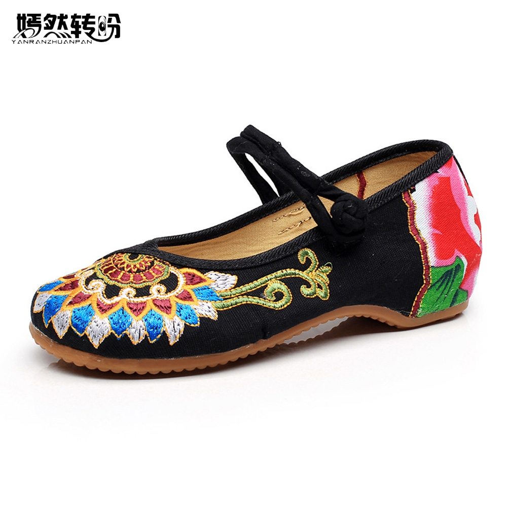 Vintage Embroidery Women Shoes Old Beijing Floral Embroidered National Traditional Oxford Ballet Flats Soft Casual Dance Shoes women flats old beijing floral peacock embroidery chinese national canvas soft dance ballet shoes for woman zapatos de mujer