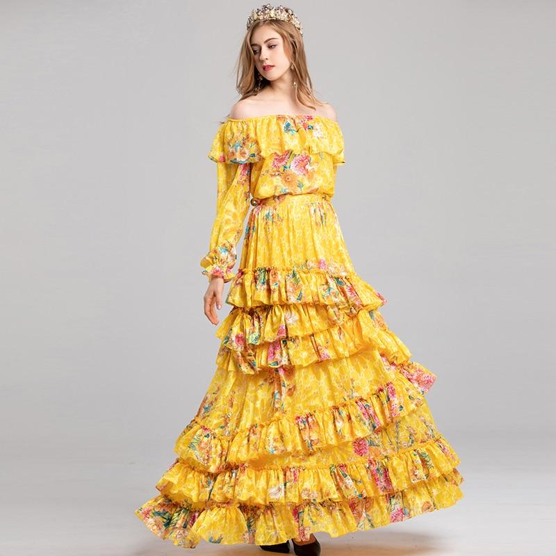 2019 Jupe Manches Lanterne Femmes Jaune Costumes sets Imprimer Twin Haut Cou Volants Fleurs longueur Étage Bohème À Slash Hiver ZnwRq1txFw